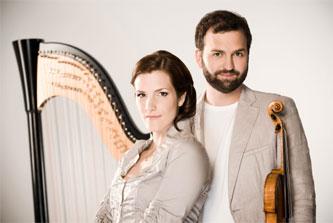 Harpist Valérie Milot and violinist Antoine Bareil